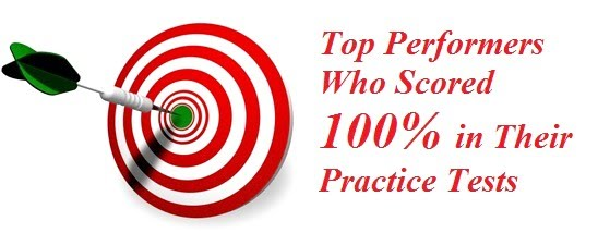 top performers who scored 100% in their practice tests
